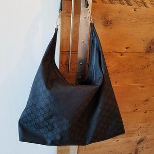 Gucci XL black canvas Hobo Bag 112269 series